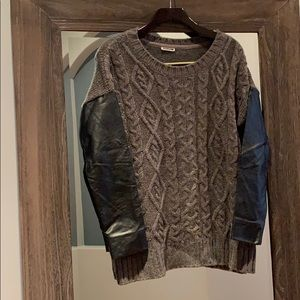 Noisy May Faux Leather Sleeve Sweater